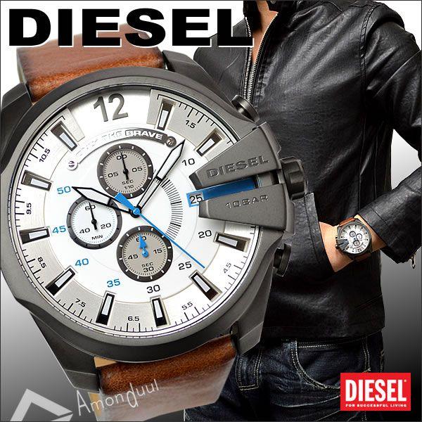 【送料無料】ディーゼル DIESEL 腕時計 メンズ DZ4280 クロノグラフ ホワイト×ブルー文字盤 ブラウン本革レザーベルト メガチーフ メンズ腕時計 アナログ うでとけい Men's 時計 男性用 ディーゼル/DIESEL 人気モデル レア【DIESEL】誕生日プレゼント・クリスマス