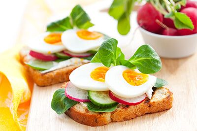 OPEN FACED RADISH AND EGG SANDWICH