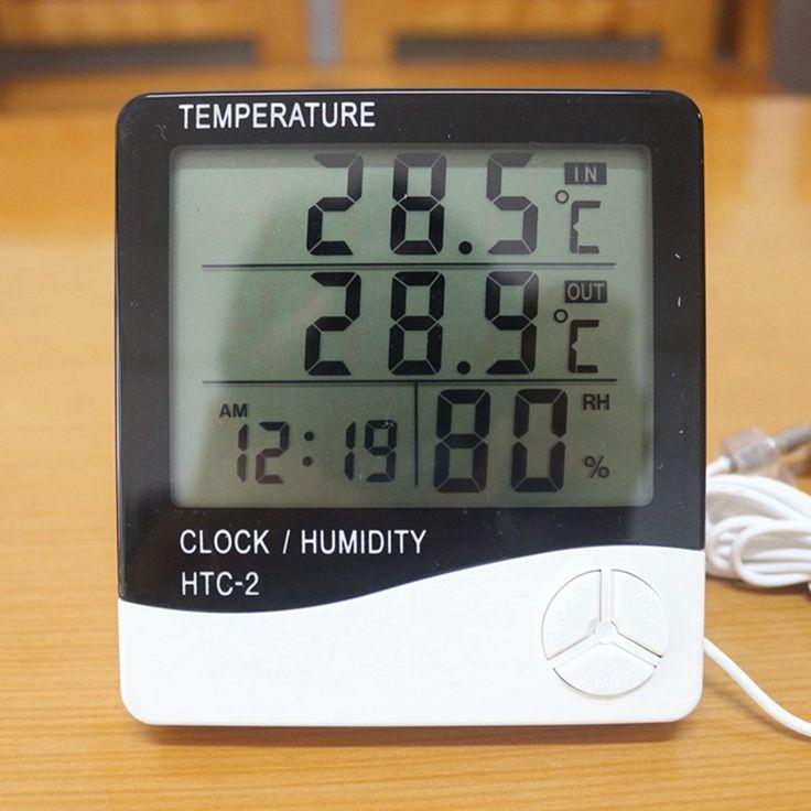 Digital LCD Weather Station Indoor Terbuka Thermometer Hygrometer Suhu Kelembaban Meter Jam HTC-2 Tester Alarm