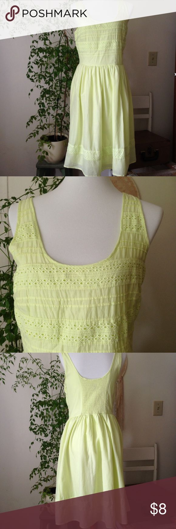 "Old Navy Neon Green Cami Dress with crochet detail Sweet and sassy dress. Great for spring and summer. Crochet detail on bodice and hem. Wide straps, side zipper and elastic smocking in back. Lined skirt. 17"" across chest 40 1/4"" shoulder to hem. Size Medium Tall Old Navy Dresses Midi"