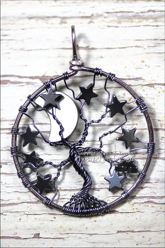 Gunmetal Crescent Moon and Stars Tree of Life by PhoenixFireDesigns, $60.00