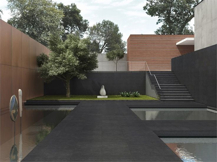 minimal garden palette of grey wood and green   Porcelain stoneware wall/floor tiles WALK by @Margres Ceramic Style #outdoor #garden
