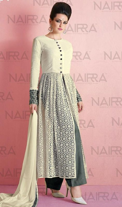 Cream Color Shaded Georgette and Net Palazzo Suit