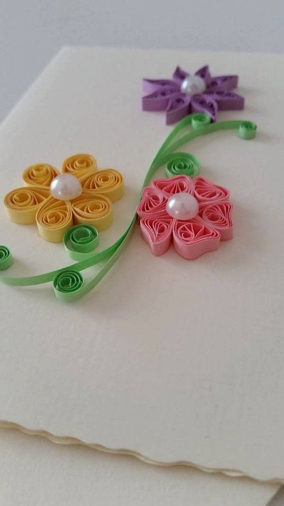 Quilled Card Paper Card Quilled Flower Quilled Gift Greeting