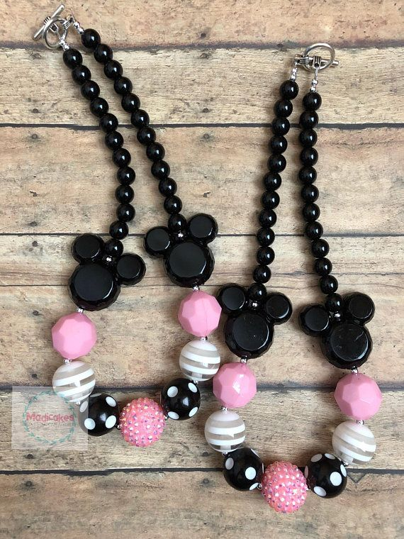 Minnie Mouse Necklace Minnie Mouse Chunky Necklace Minnie Mouse Bubblegum Necklace Minnie Mouse Cake Smash Prop