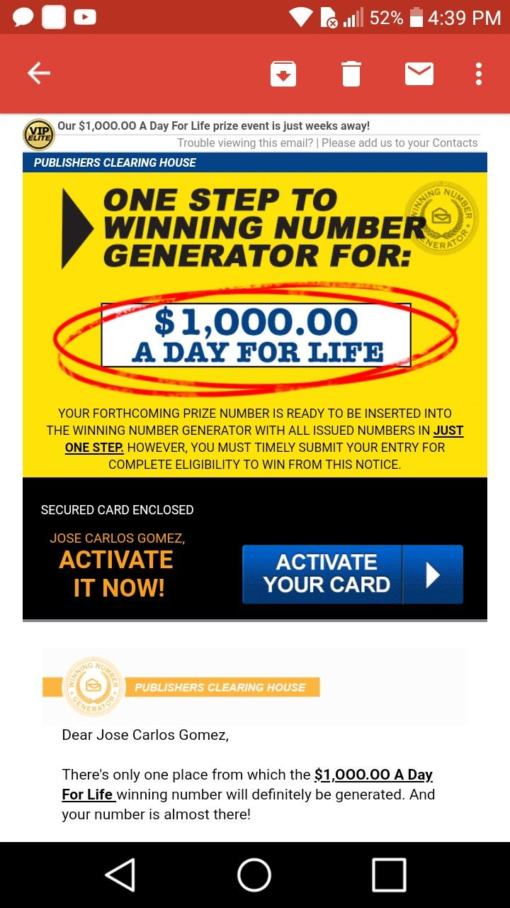 I jcg claim pch one step to winning number generator for