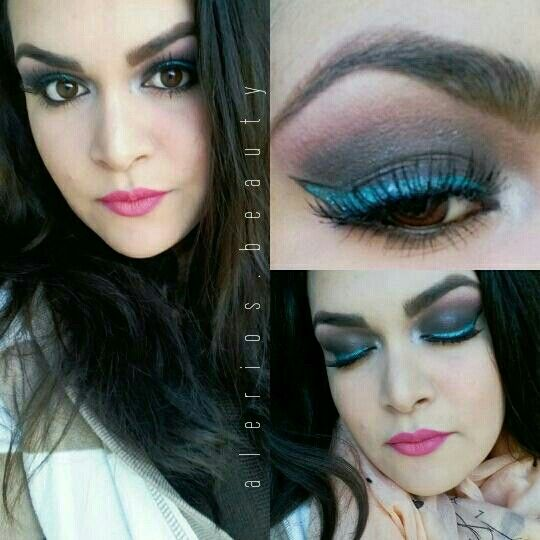 Ojos ahumados + delineador turquesa  || smoke eyes + turquoise eyeliner