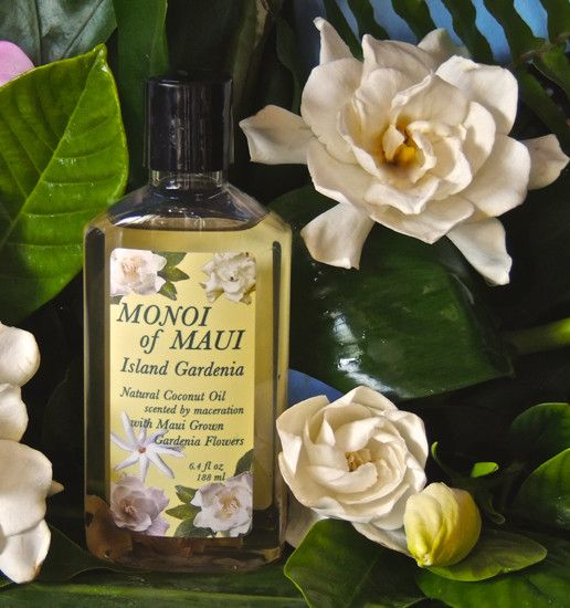 The most popular fragrance in the original Tahitian Monoi Oils . Now made in Maui with: Natural Coconut Oil infused by enfleurage with Maui Grown Gardenia Graniflora Flower Petals, Fragrance.