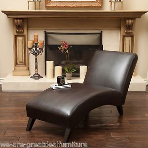 Living Room Furniture Contemporary Brown Leather Chaise Lounge Chair #Living  #room #home #