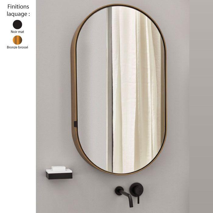 Armoire Miroir Murale Ovale 90x50 Cm I Catini Structure Bois