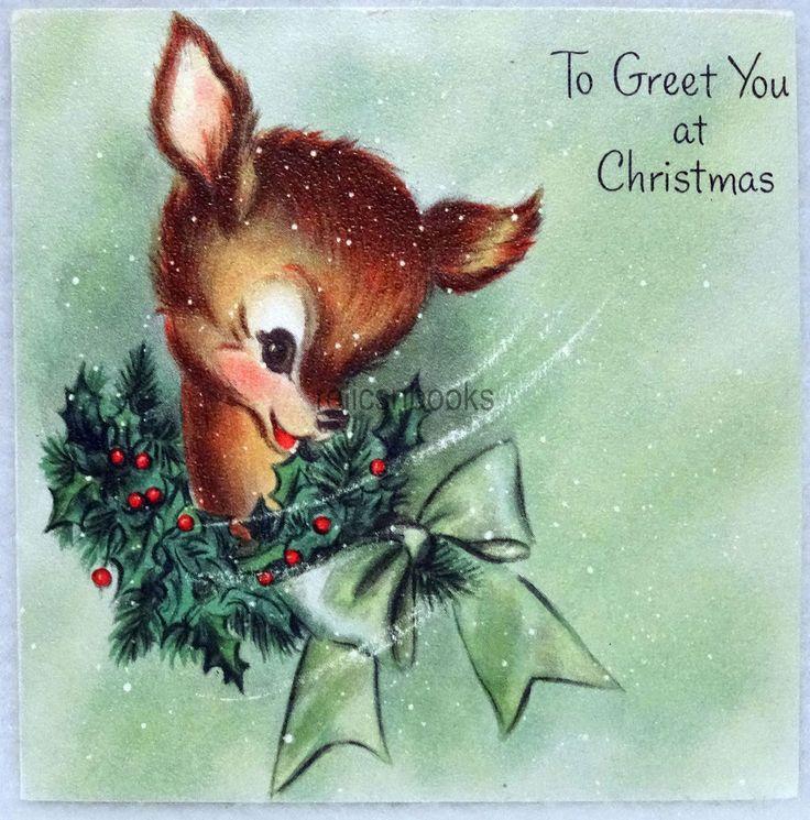 #161 50s Sweet Little Deer, Vintage Christmas Card-Greeting