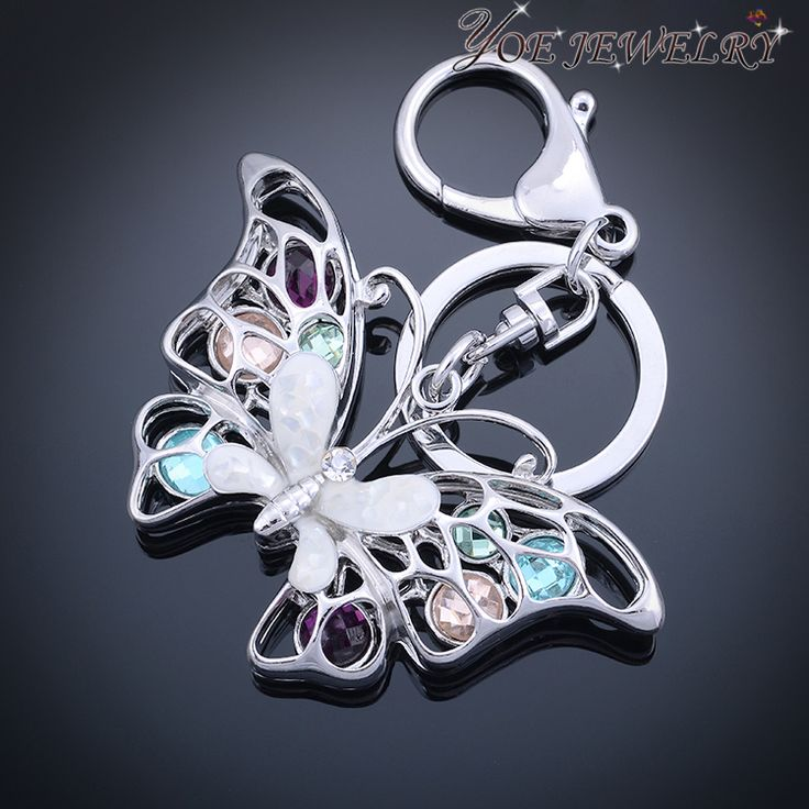 Hight Quality Creative Fashion Butterfly Keychain Colorful Crystal Key Chain Keyring For Women Bag Pendant Jewelry -in Key Chains from Jewelry on Aliexpress.com | Alibaba Group