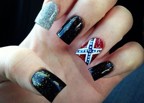 12 Southern Pride Rebel Flag Nails