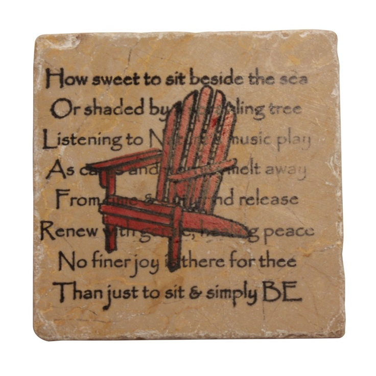 Red Adirondack Chair Coasters with a beautiful saying.