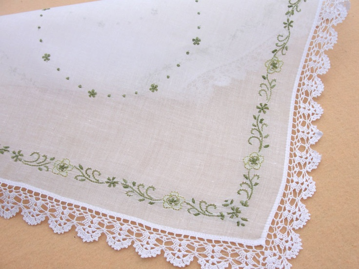 Color hand embroidery flower lace edging hankies lovely