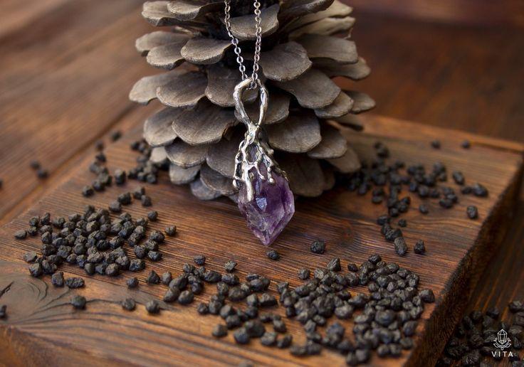 VITA Живые украшения Аметистовая капель -  кулон серебро 925, природный кристалл аметиста