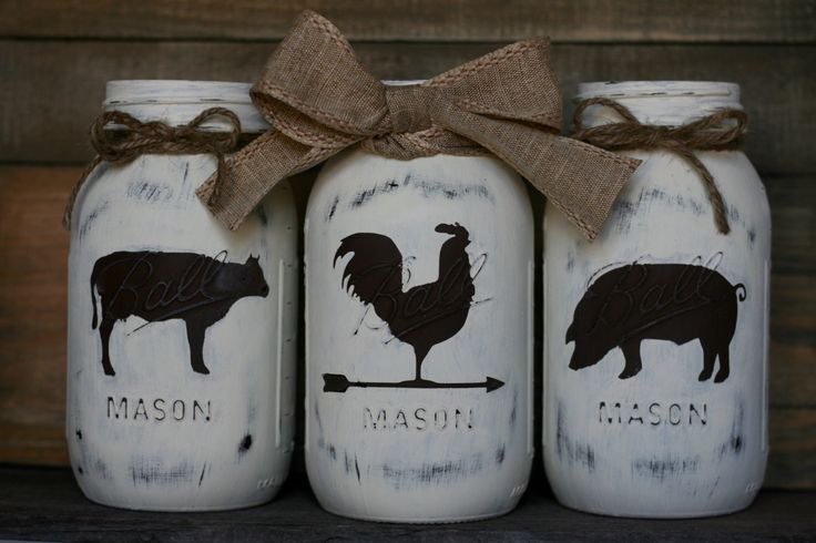 Farmhouse Trio Mason Jars-Rooster, Cow, Pig by LovelyLilysPlace on Etsy