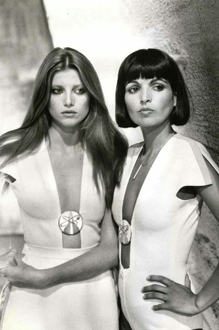 Francoise Gayat and Catherine Serre (Drax's Girls) in Moonraker directed by Lewis Gilbert, 1979 (Agente 007 Moonraker - Operazione spazio)