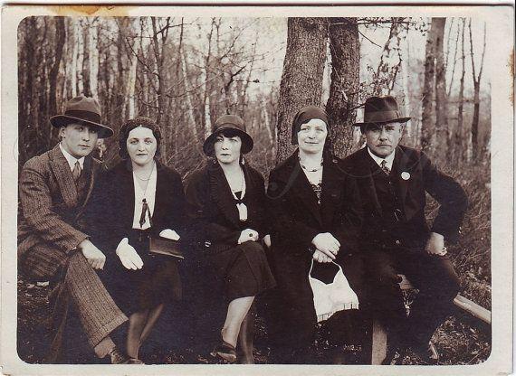 Vintage Photo  Women men photo  Forest  1930s fashion