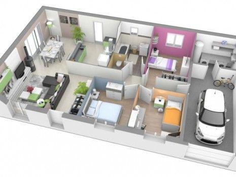 Resultat De Recherche D Images Pour Plan Maison Plain Pied 120m2 3d