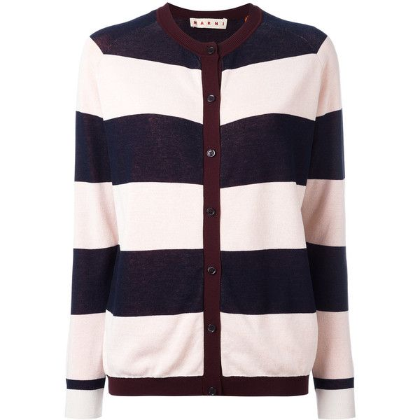 Marni Riga striped cardigan ($534) ❤ liked on Polyvore featuring tops, cardigans, red, red striped cardigan, red long sleeve top, pink striped top, striped cardigan and print cardigan