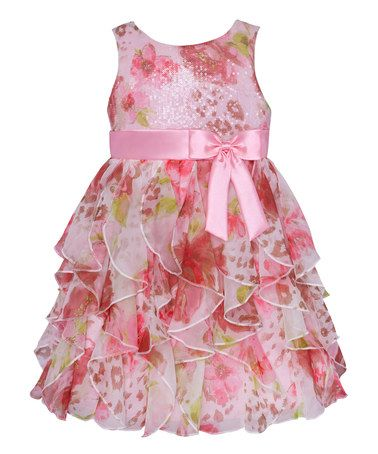 Another great find on #zulily! Pink Leopard & Rose Ruffle Tier Dress - Toddler & Girls #zulilyfinds