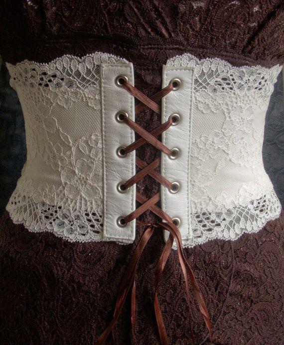 Ivory Leather and Lace Corset Belt OOAK Medium by kvodesign