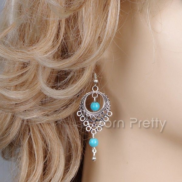 $1.99 Hollow-out Turquoise Earrings National Style Water Drop Earrings - BornPrettyStore.com