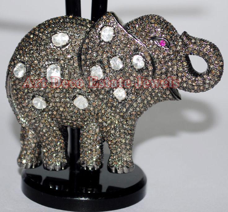 Elephant 9.81ct ROSE/ANTIQUE CUT DIAMOND RUBY VICTORIAN LOOK .925 SILVER PENDANT #BridalAntiqueJewels