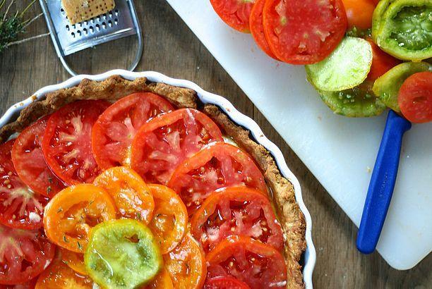 Tomatentaart met ricotta en spinazie