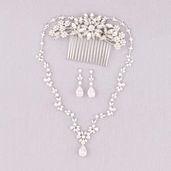 crystal earrings and necklace wedding jewelry Silver bridal jewelry set bridesmaids gift