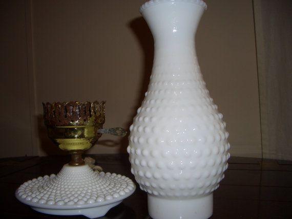 Vintage Fenton Milk Glass Hobnail Electric Hurricane Lamp Milk Vintage And Milk Glass