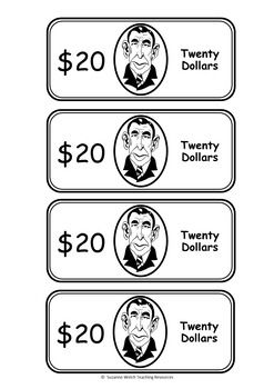 Classroom Cash / Classroom MoneyBlack and white templates for 3 sets of classroom currency.Denominations: $1$5$10$20$50$1003 different sets:   interesting portraits  historical portraits  boy/girl portraitsSuitable for a range of classroom levels.Ink-friendly  4 to a page and in black/white.