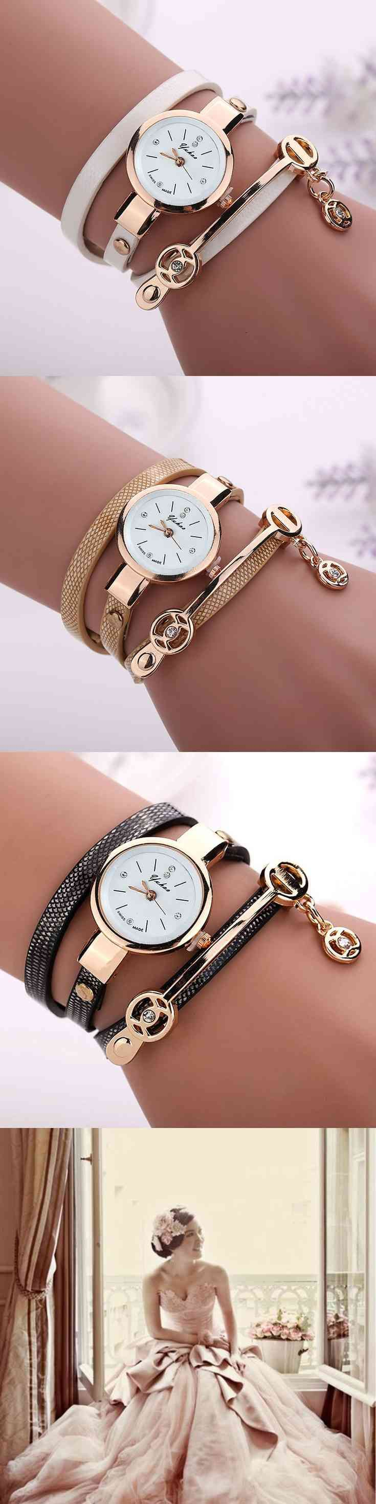 """Give a gift to your Bridesmaids a memorable and Fashionable Women Leather Stainless Steel Bracelet Quartz Dress Wrist Watch in different colors to choose Gift Fashion Luxury Bracelet Watch Wristwatch   Watch band material: PU  Leather   Case material: Alloy   Total length: 55cm/ 21.66""""(approx.)   Belt Width: 0.6cm/0.24""""(approx.)   Watch case Size: (...) (via pushapin.com)"""
