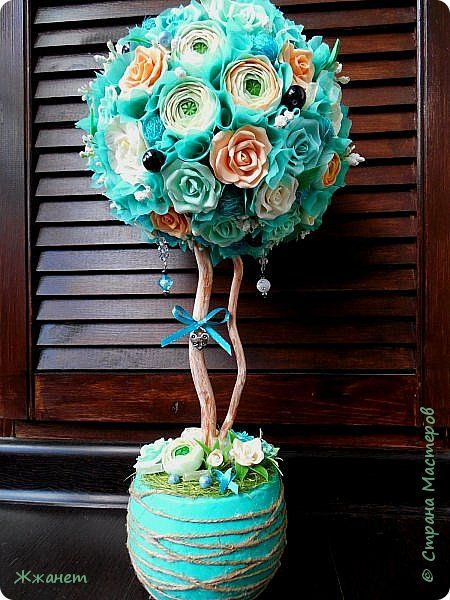 Бонсай топиарий Лепка Моделирование конструирование Бирюзово-персиковое дерево счастья Фарфор холодный фото 1