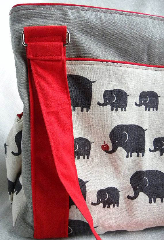 Elephants on Parade Expedient Bag Ready to by BrookeVanGoryDesigns, $79.99