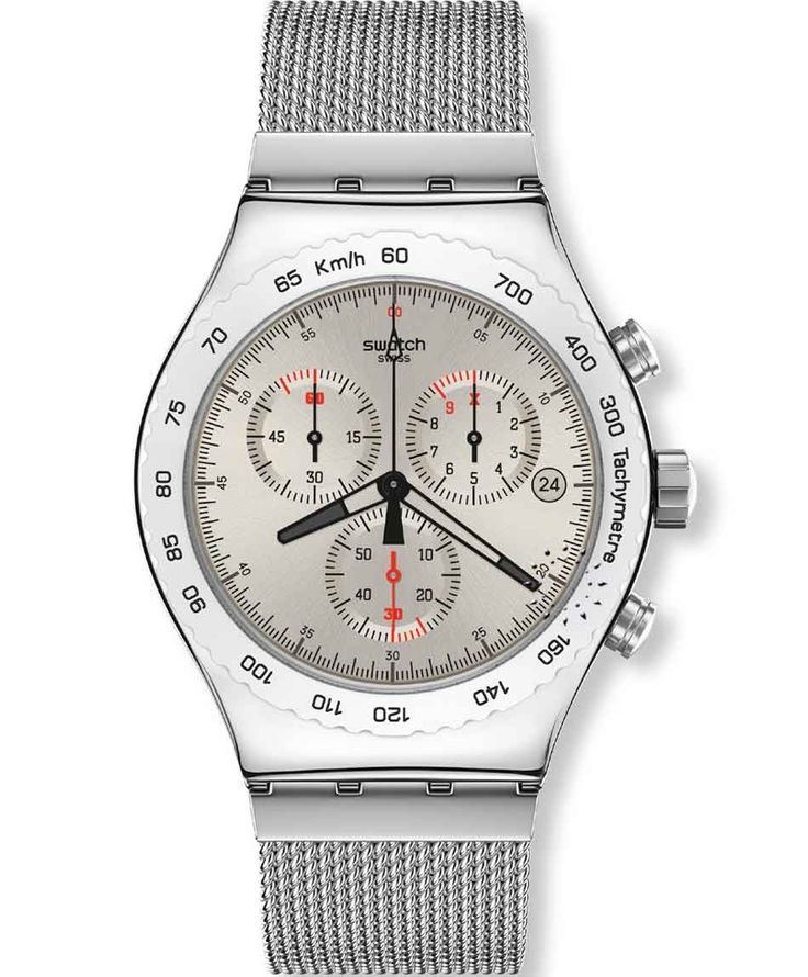 SWATCH Irony Chrono Silverish Stainless Steel Bracelet Μοντέλο: YVS405G Τιμή: 140€ http://www.oroloi.gr/product_info.php?products_id=33911