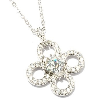 "TYCOON for Brill Platinum Embraced[ 2.10 DEW Clover Pendant w/ 18"" Chain ShopNBC.com"