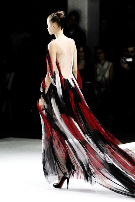 Rodarte, model, Abbey Lee Kershaw, runway, haute couture, couture, fashion, high fashion, New York Fashion Week, fashion week, chiffon, tulle, tie dye, sheer, ruffles, Rodarte Couture, couturier, atelier, goddess, ombre, catwalk, Kate Mulleavy, doll, Abbey Lee, supermodel, Christian Louboutin, heels, fairy tale, princess,