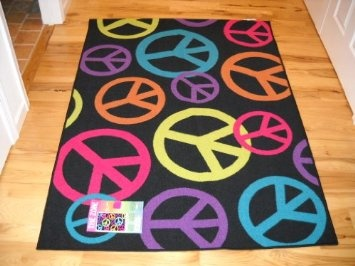 Amazon.com: Girls Bedroom Decor Large Peace Sign Room Rug Black Lime Hot  Pink Design Inspirations