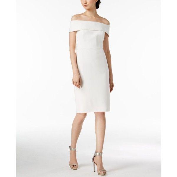 50b2dd57a8ef Calvin Klein Off-The-Shoulder Scuba Crepe Dress