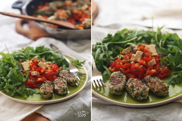 Веганские котлеты из цветной капусты и овощи с тофу