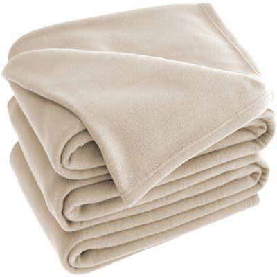 Bare Home Polar Fleece Blanket Color: Oyster, Size: Throw
