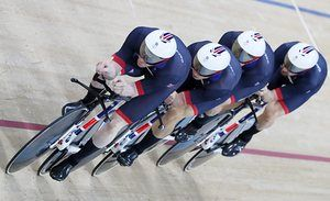 Great Britain win GOLD in Men's Team Pursuit. Ed Clancy, Owain Doull, Steven Burke and Bradley Wiggins