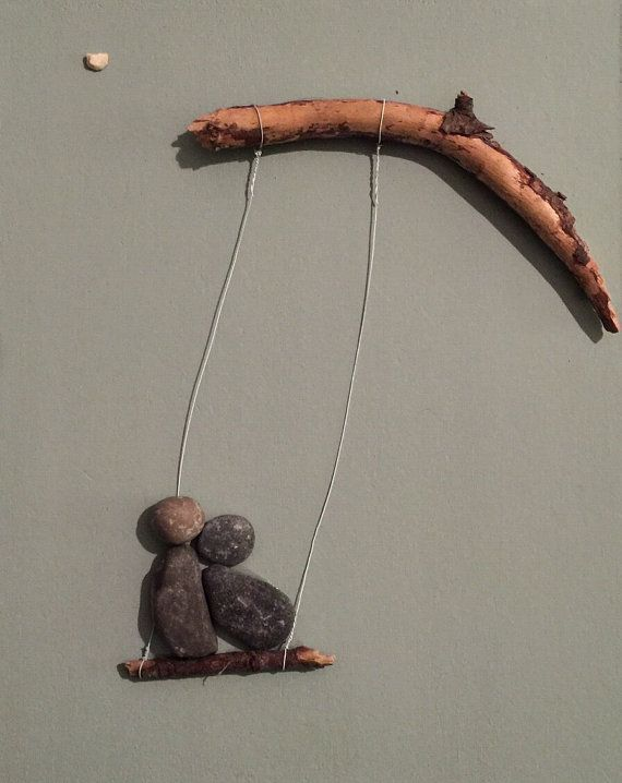 Stone people-Swinging by LiseStones on Etsy