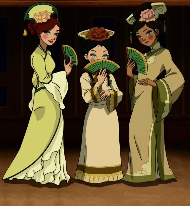 The Last Airbender Avatar Kyoshi: Fancy Toph, Katara, And Some Random Chick.