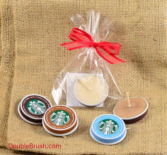 Starbucks Coffee Favor Upcycled Candle Recycled Starbucks Cap Soy Wax Candle Coffee Scented Tea Light Party Favor Wedding Favor Gift Momento