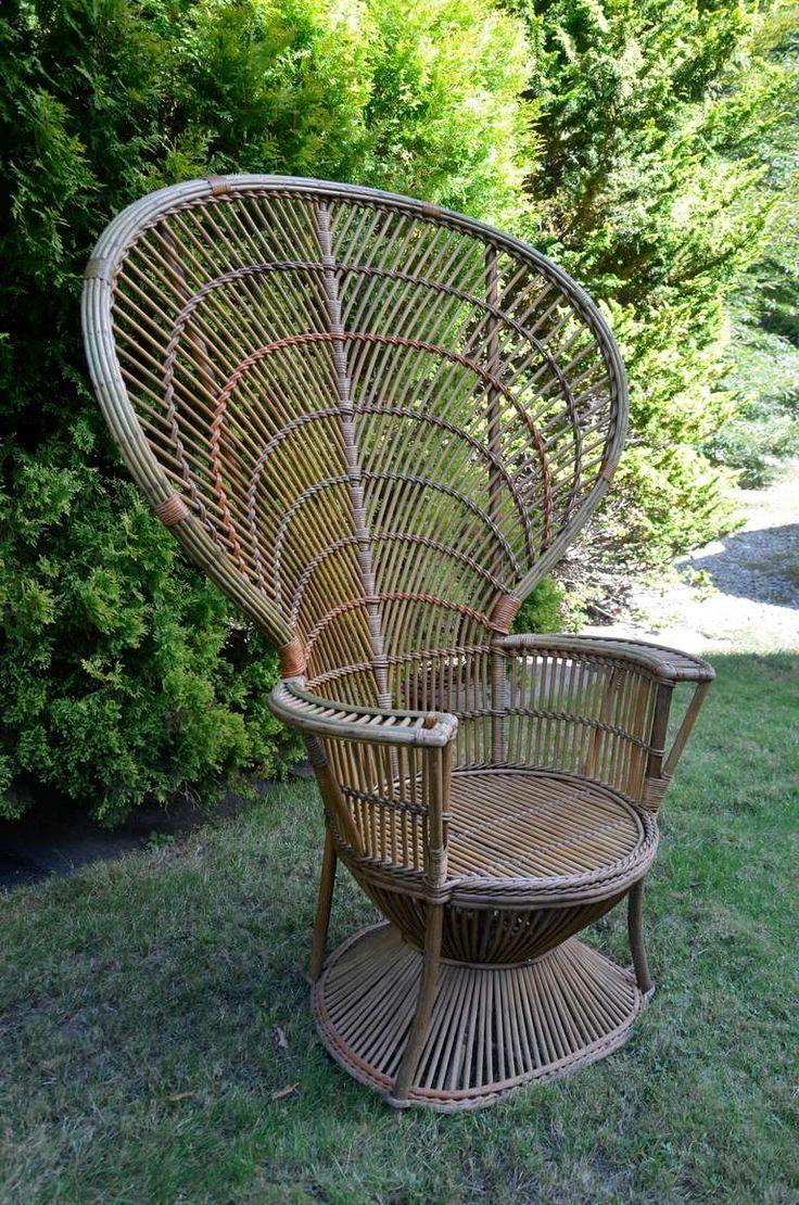 Antique wicker lounge chair - Four Antique Deco Rattan Chairs