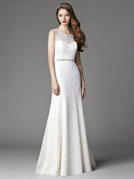 After Six Wedding Dress 1048: The Dessy GroupSleeveless jewel neck classic lace over opulence bridal gown w/ jeweled belt at natural waist. Sweep train. Select colors available in sizes 0-18 for quick delivery. The full color range is available in sizes 00-30W for special order from your authorized retailer