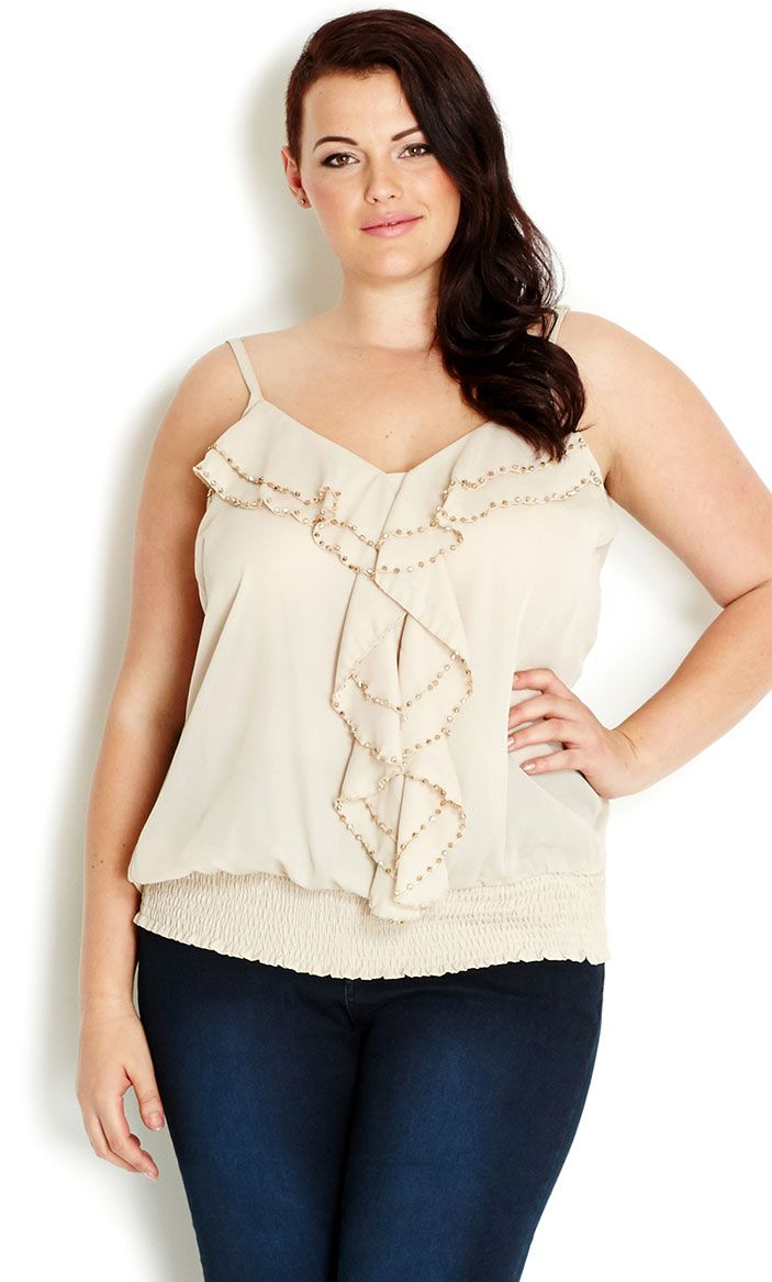 City Chic - BEADED STRAPPY TOP - Women's plus size fashion #citychic #citychiconline #newarrival #plussize